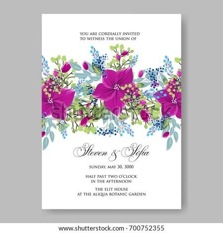 Anemone Poinsettia Floral Wedding Invitation Template Stock Vector