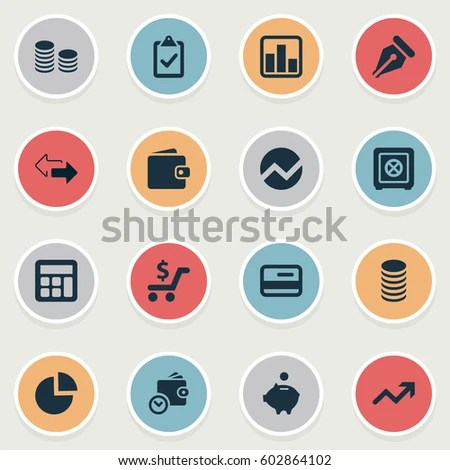 Vector Illustration Set Simple Investment Icons Stock Vector - simple credit card calculator