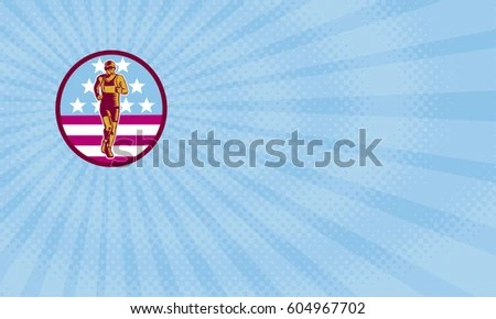 Business Card Showing Illustration Marathon Runner Stock
