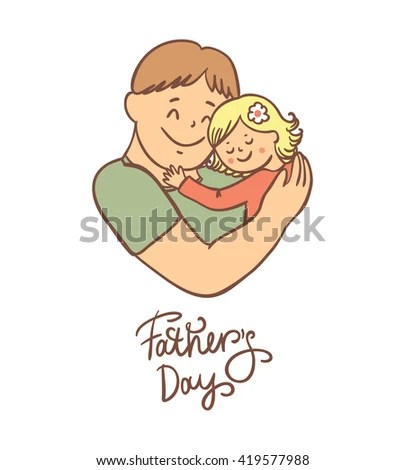 Father Daughter Happy Fathers Day Card Stock Vector 419577988