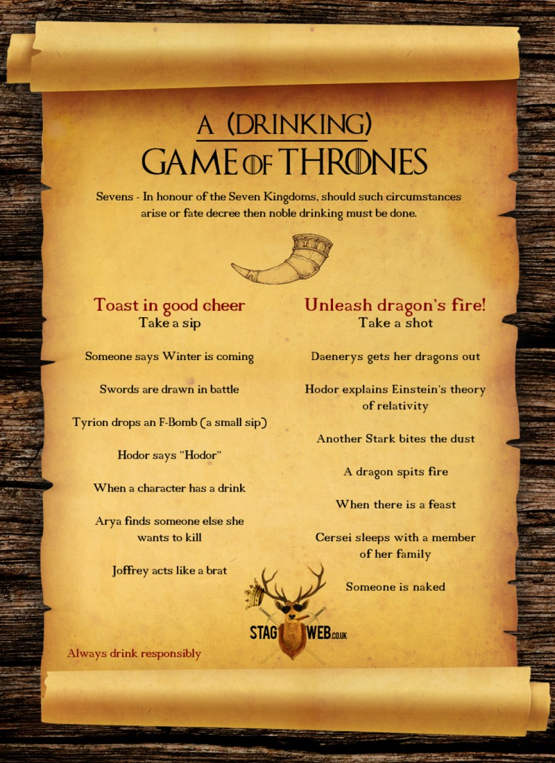 Large Of Game Of Thrones Drinking Game