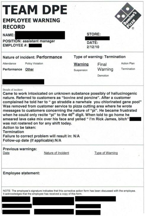 Domino\u0027s Employee Dismissal Form How an accidental viral ad