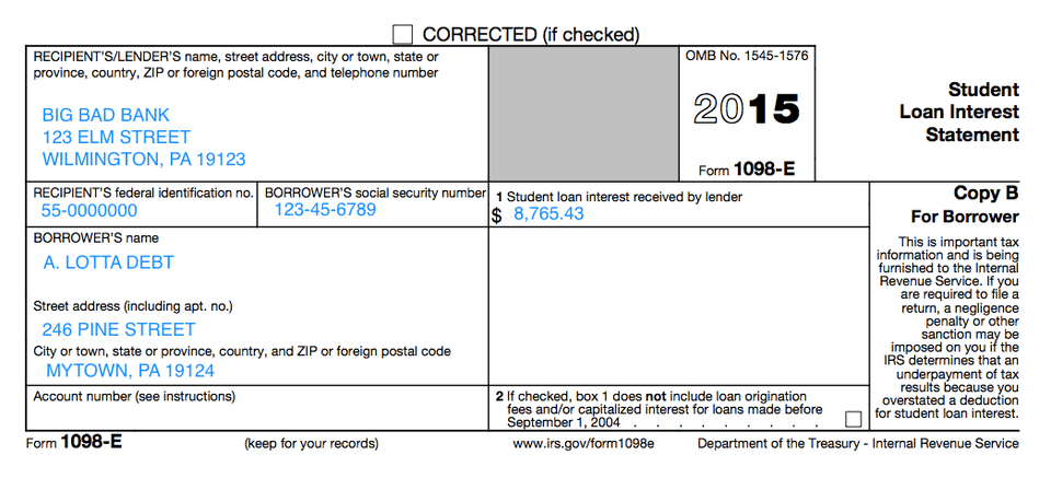 Understanding Your Forms 1098-E, Student Loan Interest Statement - students loan application form
