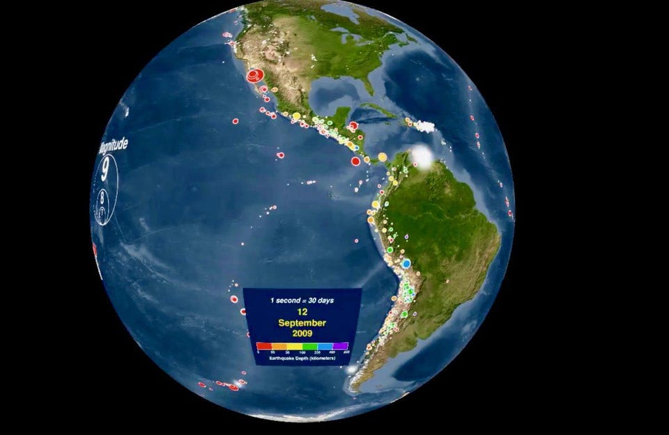 Watch The Earth Crack Animated Map Shows Every Earthquake For 15 Years