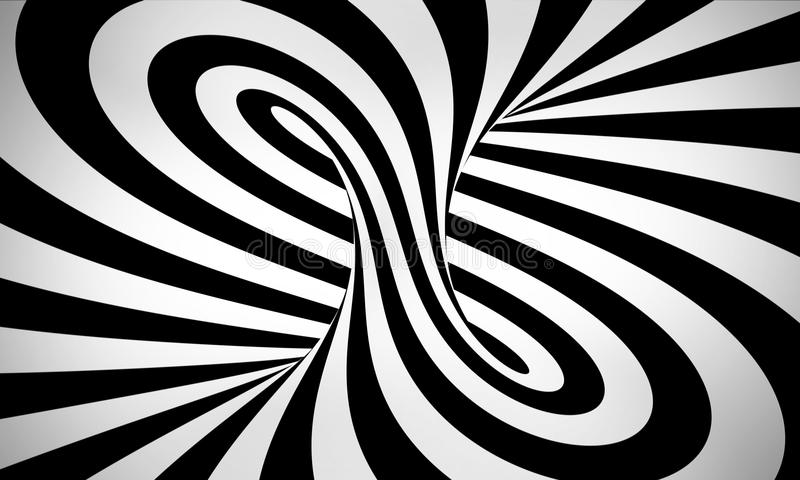 Hyperspace 3d Wallpaper Abstract Black And White 3d Background Stock Illustration