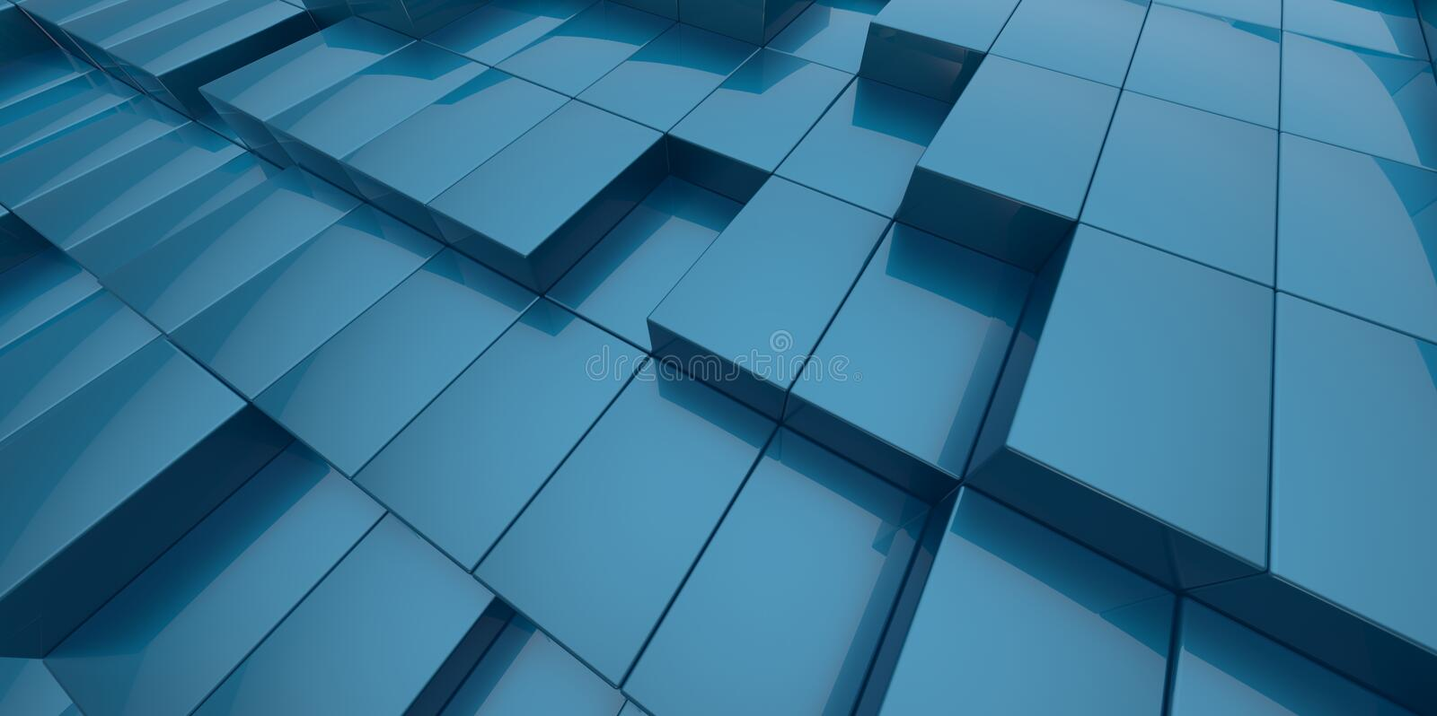 Abstract Blue Background Of 3d Blocks Stock Illustration