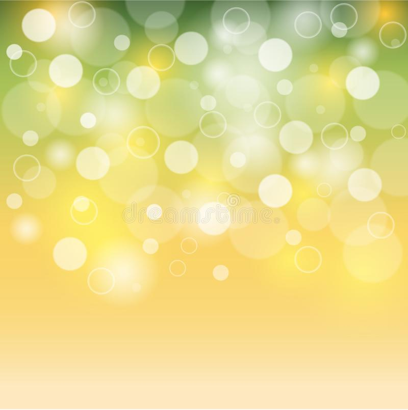 Green And Yellow Background White Bubbles Or Bokeh Lights Summer