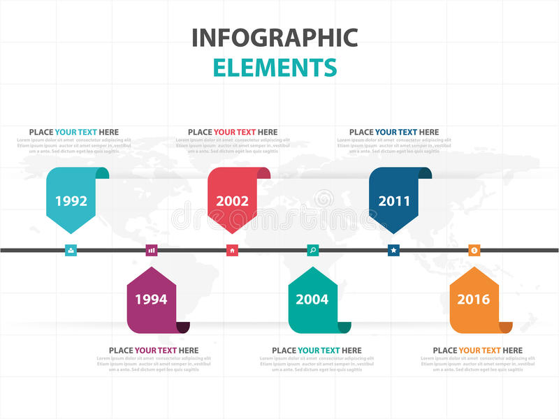 Abstract Colorful Label Business Timeline Infographics Elements - advertising timeline template
