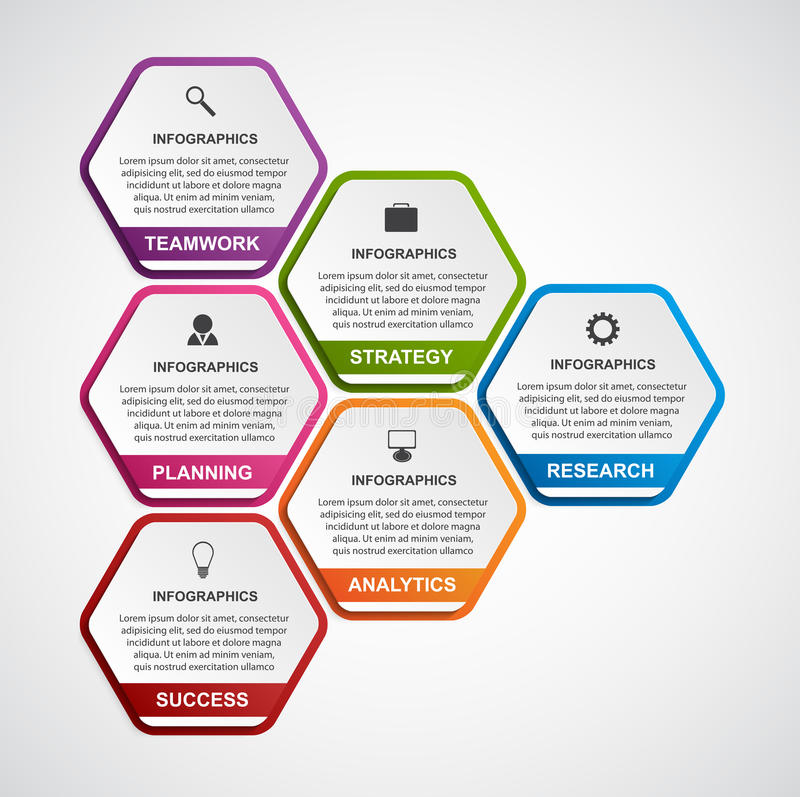 Abstract Hexagon Business Options Infographics Template Stock