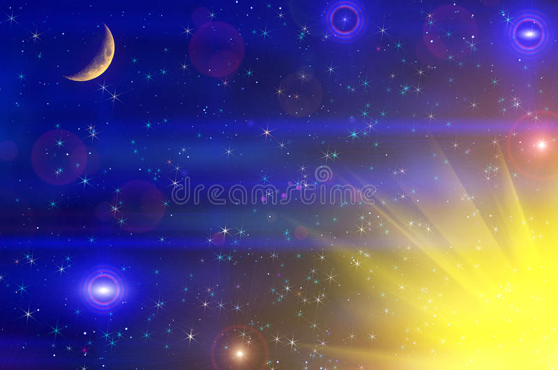 Abstract Stars Sky Moon Background Stock Photo