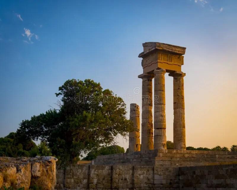 Acropolis Of Rhodes At Monte Smith On Rhodes, Greece Stock Photo