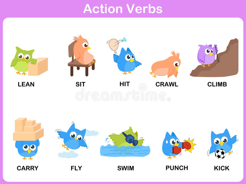 Action Verbs Picture Dictionary (Activity) For Kids Stock Vector - action verbs