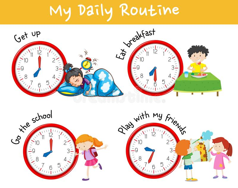 Activity Chart Showing Different Daily Routine Of Kids Stock Vector