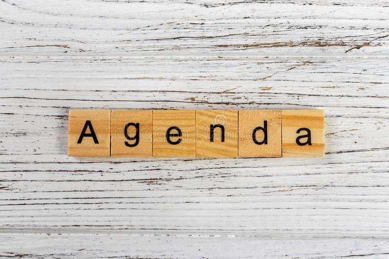 AGENDA Word Made With Wooden Blocks Concept Stock Photo - Image of - agenda word