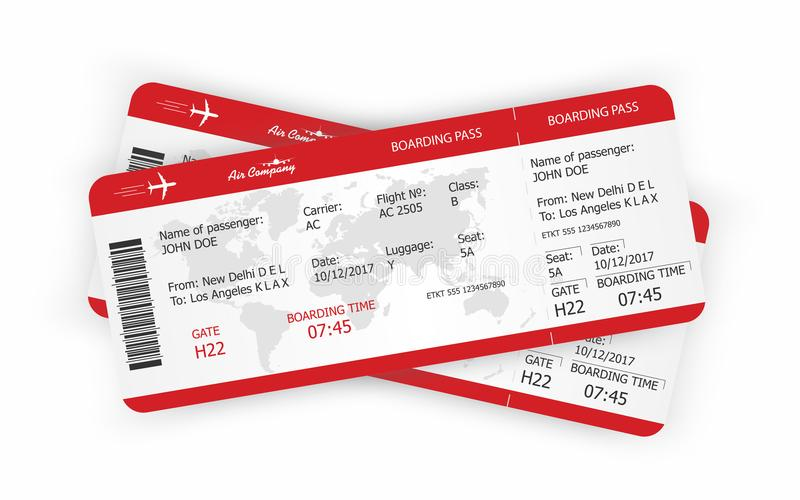 Airplane Tickets Boarding Pass Tickets Template Stock Vector - airplane ticket template