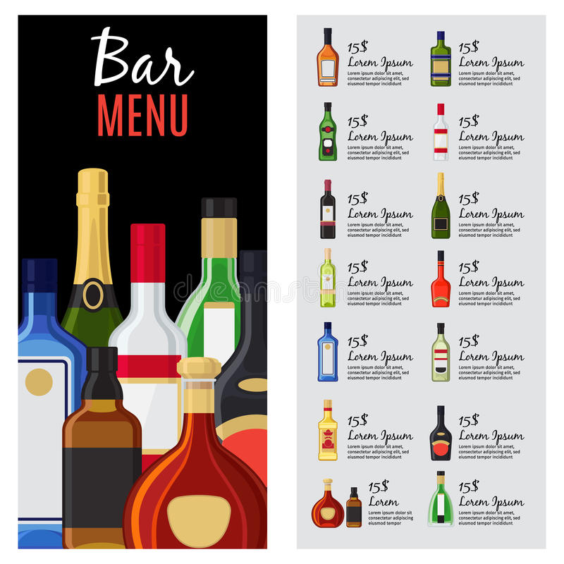 Alcohol Drinks Menu Template Stock Vector - Illustration of card - drinks menu template