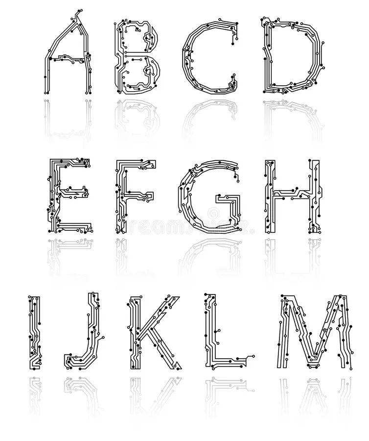 alphabet of printed circuit boards stock photo