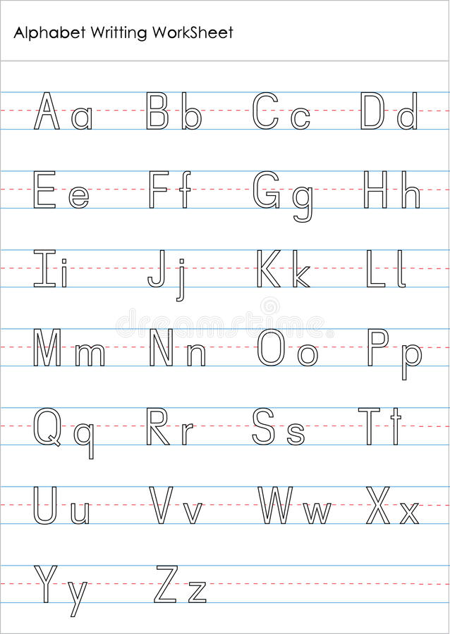 Alphabet Writing Practice Worksheet Stock Illustration - practice alphabet writing