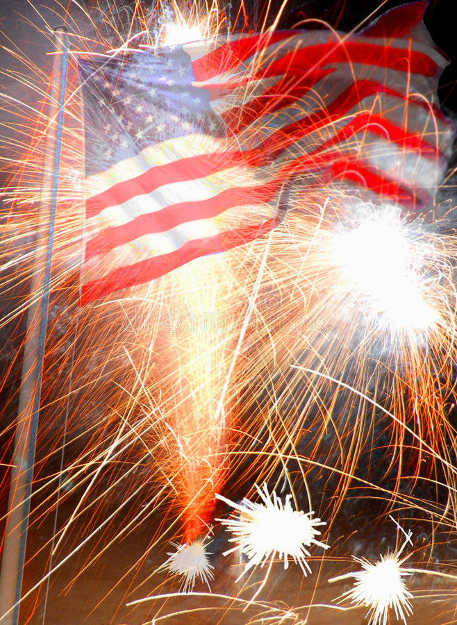 American Flag And Fireworks Stock Photo - Image of fireworks, proud