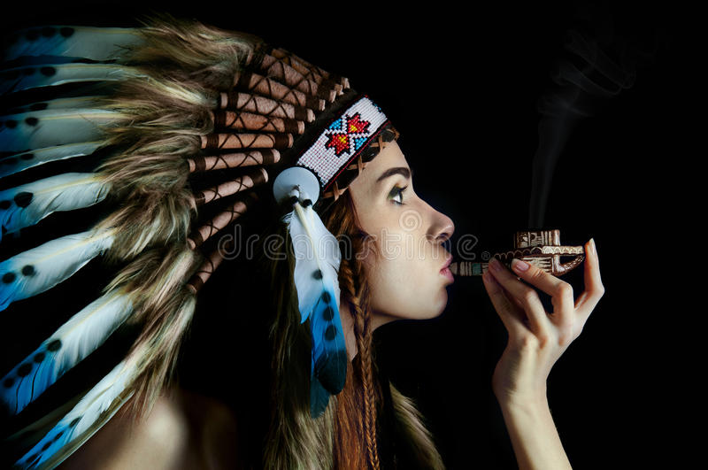 Native American Girl Hd Wallpaper American Indian Girl Smoking A Pipe Stock Photo Image