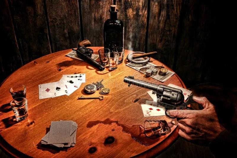 Cheater Girl Wallpaper American West Saloon Gambler Holding Gun At Poker Stock