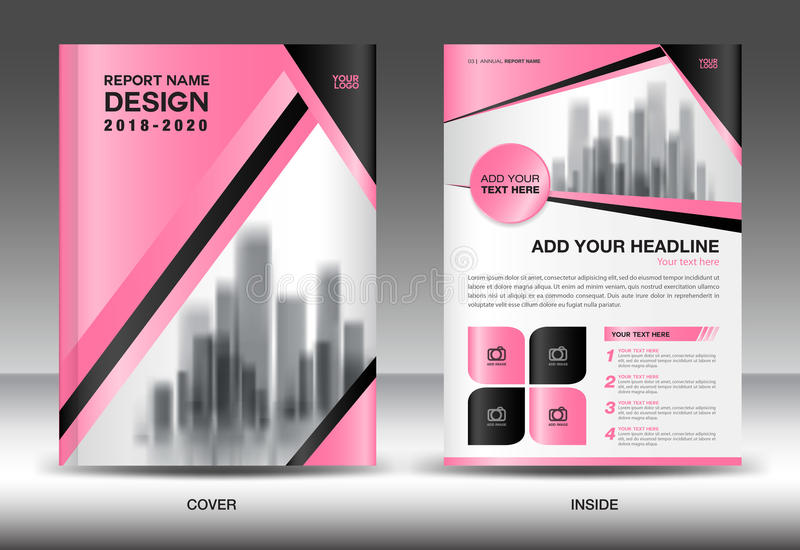 Annual Report Brochure Flyer Template, Pink Cover Design Stock - advertisement flyer template