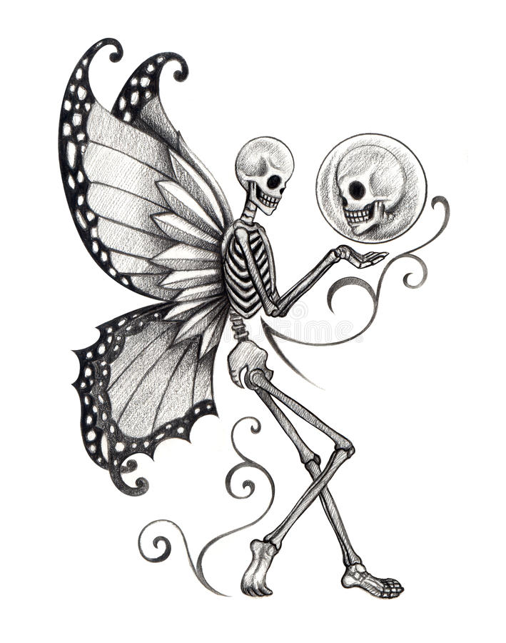 Cute Dia De Los Muertos Wallpaper Art Skull Fairy Tattoo Stock Illustration Illustration