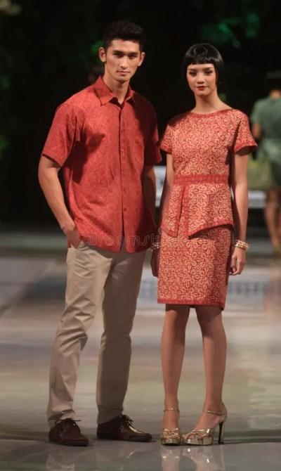Asian Couple Model Wearing Batik At Fashion Show Runway ...