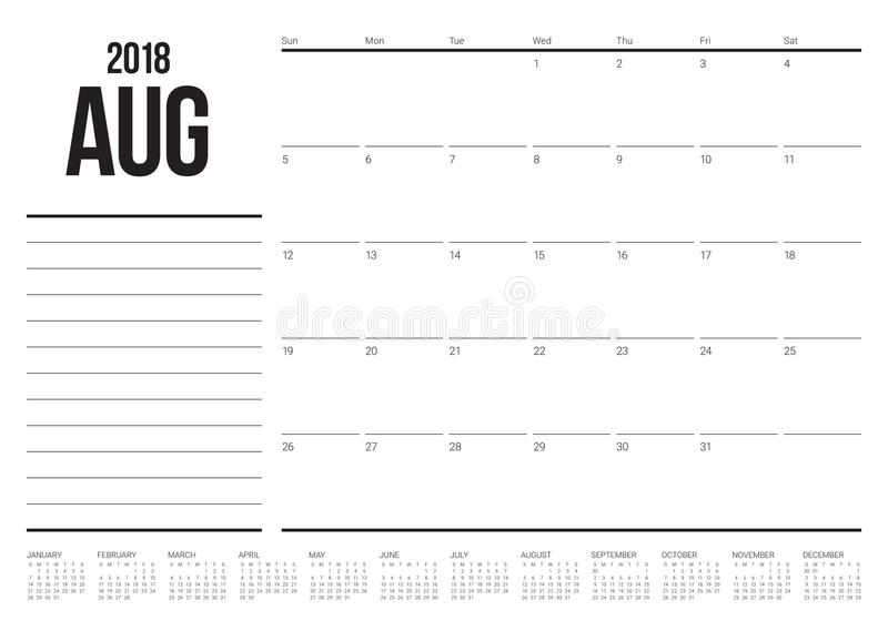 August 2018 Planner Calendar Vector Illustration Stock Vector