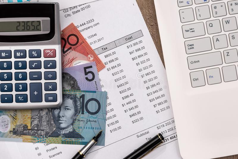 Australian Dollar With Graph, Home Budget Laptop Stock Photo - Image
