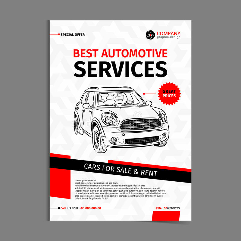 Automotive Services Layout Template, Cars For Sale  Rent Brochure