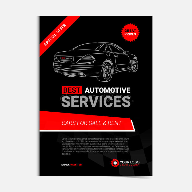 AUTOMOTIVE SERVICES Layout Template, Cars For Sale  Rent Brochure