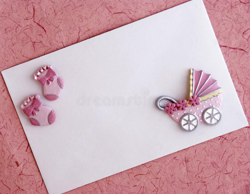 Baby Girl Announcement Card Stock Photo - Image of female, birth