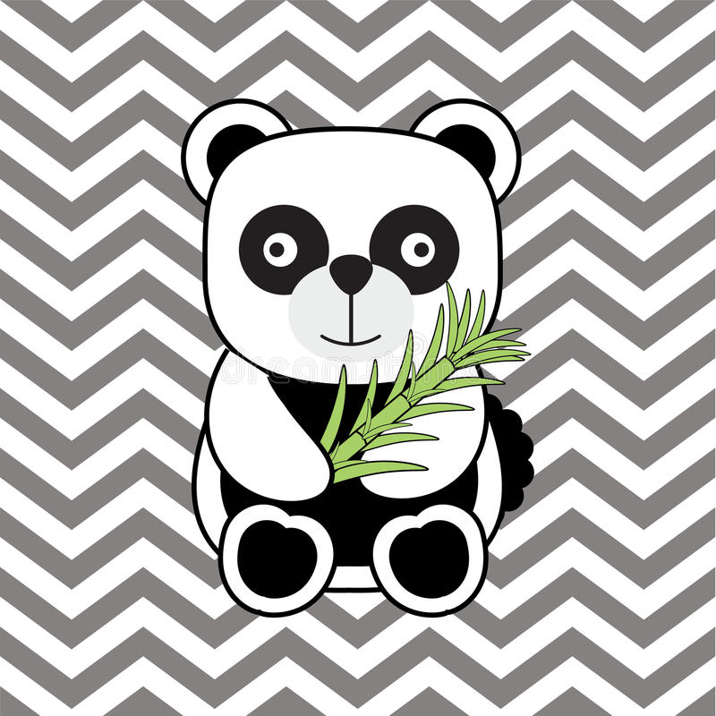 Baby Shower Illustration With Cute Baby Panda On Chevron Background