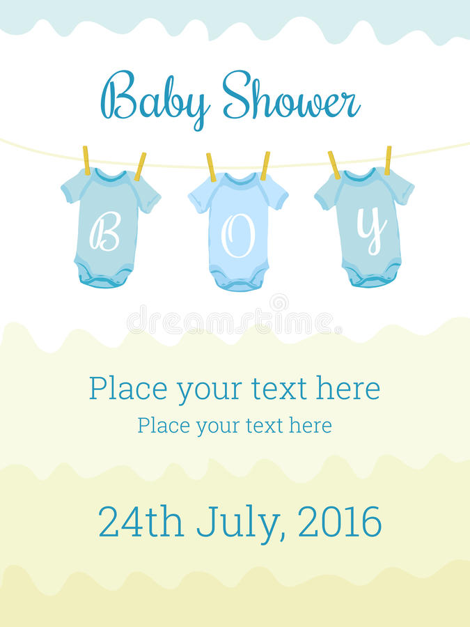 Baby Shower Invitation Card Template For Boy Stock Vector