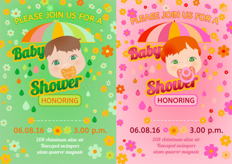 Baby shower message card stock vector Illustration of background