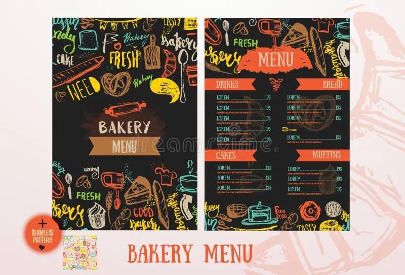Bakery Cafe Menu Design Template Stock Vector - Illustration of - menu design template