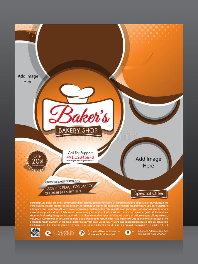 Bakery Shop Brochure Template Design Stock Vector - Illustration of