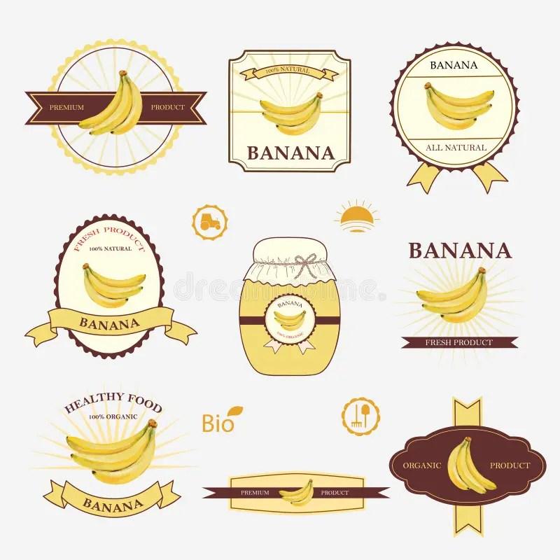 Banana, Set Of Label Design Stock Vector - Illustration of healthy