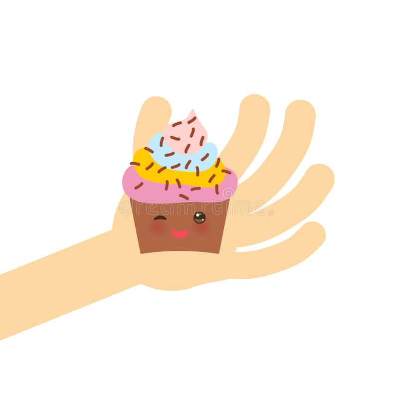 Banner Template For Your Text, Card Design With Cupcake Kawaii Funny