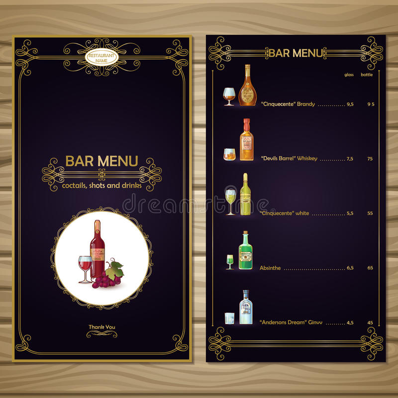 Bar Menu Template stock vector Illustration of different - 73605709