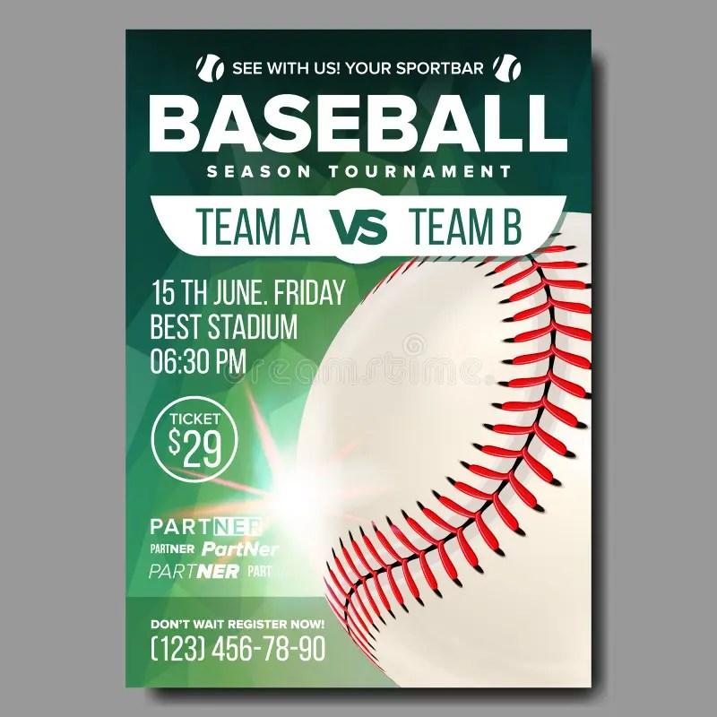 Baseball Poster Vector Sports Bar Event Announcement Ball Banner