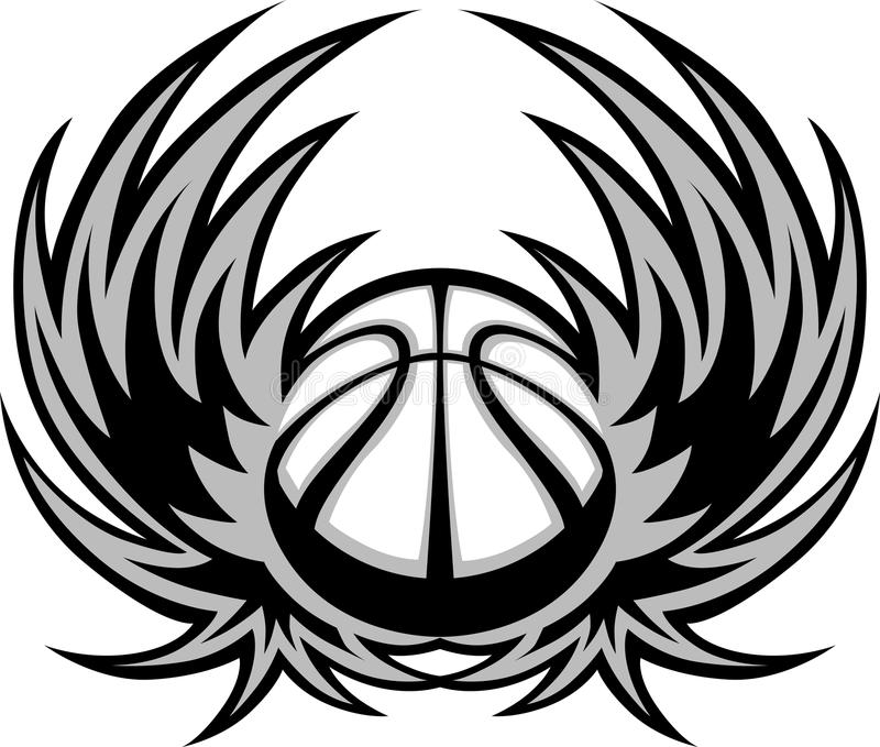 Basketball Template With Wings Stock Vector - Illustration of symbol - black and white basketball template