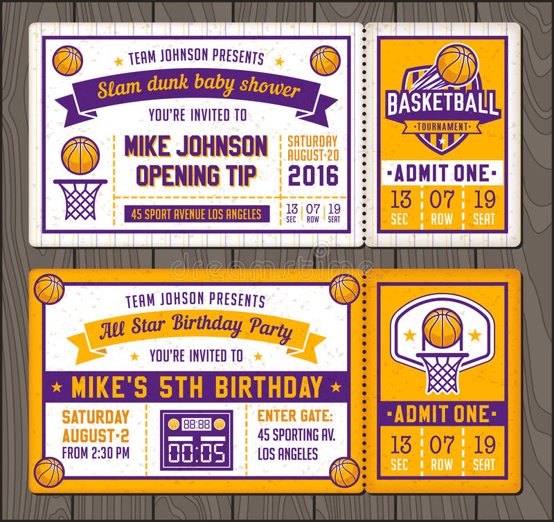 Basketball Vector Ticket Templates Stock Vector - Illustration of - Ball Ticket Template