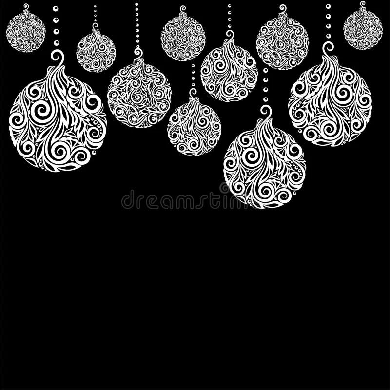 Beautiful Black And White Christmas Background With Christmas Balls - christmas cards black and white
