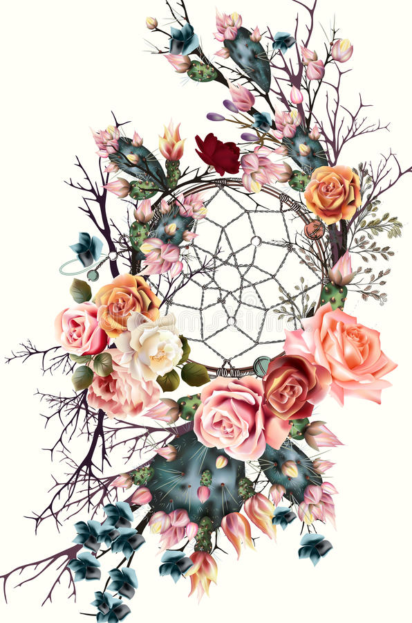Cute Doodle Wallpaper Hd Beautiful Boho Illustration With Dreamcatcher Rose