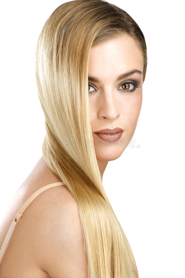 Straight Hair Cutting Video Beautiful Model Showing Her Perfect Blonde Straight Hair