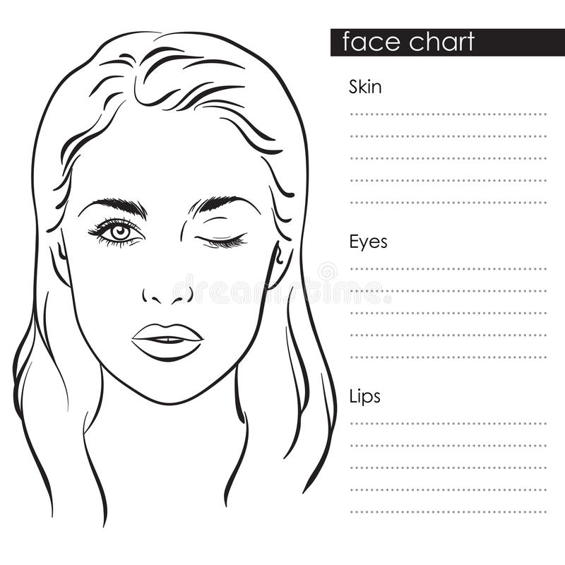 Beautiful Woman Portrait Face Chart Makeup Artist Blank Template - eye chart template