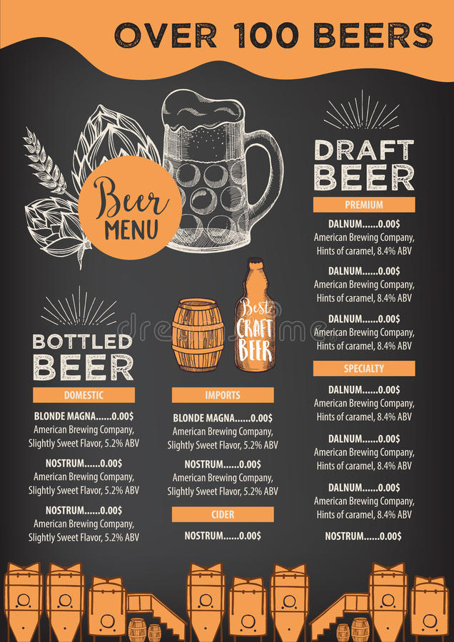 Beer Restaurant Cafe Menu, Template Design Stock Vector - Cafe Menu Template