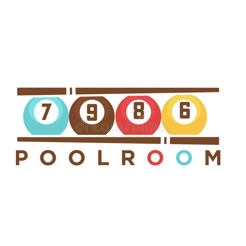 Billiard Club Poolroom Vector Label Template Of Pool Cues And Balls